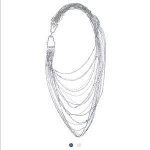 Chloe+Isabel multistrand silver chain bib necklace